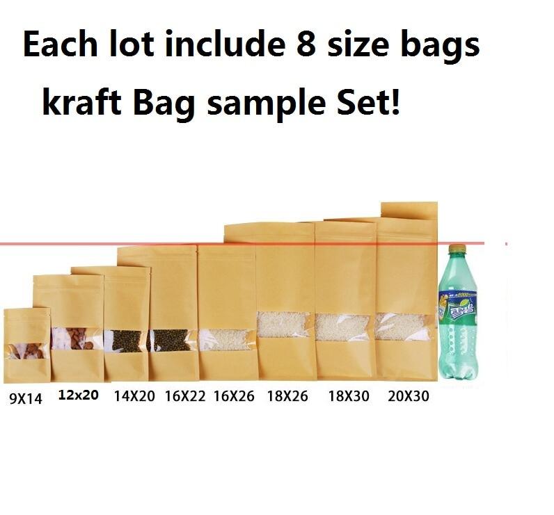 Sample Set 8 Sizes Brown Kraft Paper Clear Window Zipper
