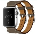Doble hebilla cuff pulsera correa de piel genuina para apple watch tour serie 1 y serie 2 42mm/38mm