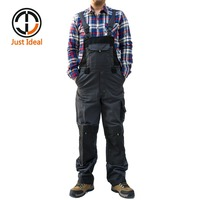 2017 Men Cargo Bib Pant Multi Pocket Canvas Overall Oxford Waterproof Tactical Casual Coverall Plus Size