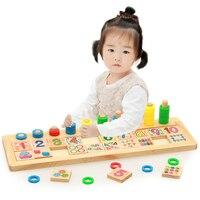 חומרי לימוד צעצועי ילדים בגיל הרך למידה במתמטיקה מונטסורי מקלות עץ מספר לוחות עיגולים לערום מועצת רוזן