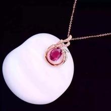 18K Rose Gold 1 38ct Tourmaline 0 083ct Natural Diamond Setting Necklace Pendant Fine Jewelry Jewellery