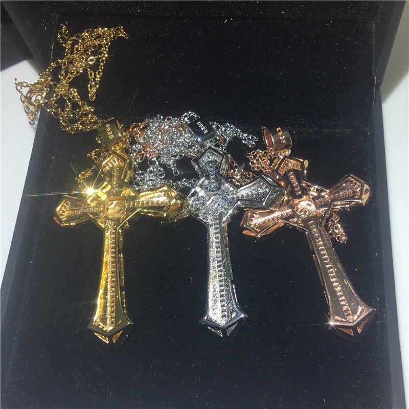 Vecalon moda duży krzyż wisiorek złoty kolor ze srebra próby 925 AAAAA Cz Wedding Party wisiorki z naszyjnik dla kobiet mężczyzn biżuteria prezent