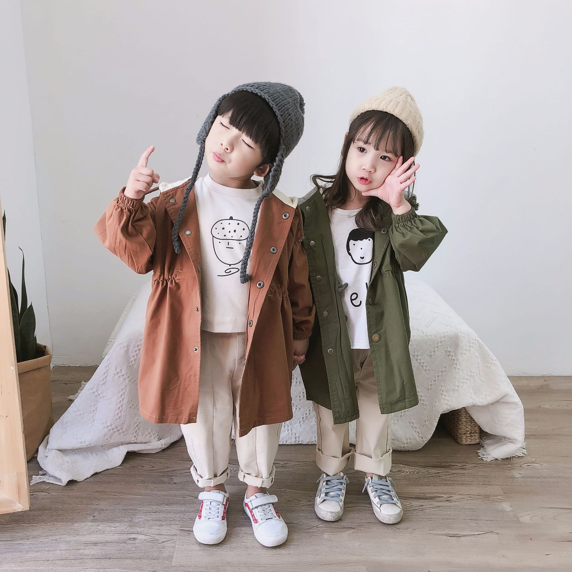 2018 Autumn New Arrival cotton pure color fashion long style all-match Korean Version Hooded windbreak Coat for baby boys girls