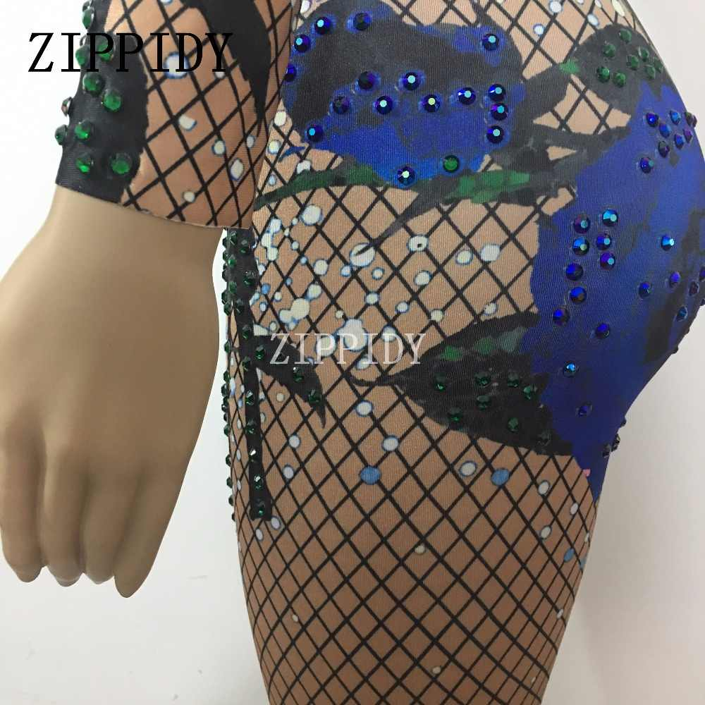 Модная синяя Роза Печать Красочные боди со стразами представление вечерние день рождения, празднование блестящий костюм танцевальная одежда