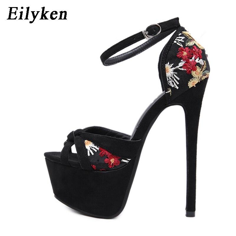 Black Femmes Cm Broder Bout Sandales Femme D'été Club 2019 16 Mince Chaussures Pompes À Mode Eilyken Ouvert Party Talons qURpEp