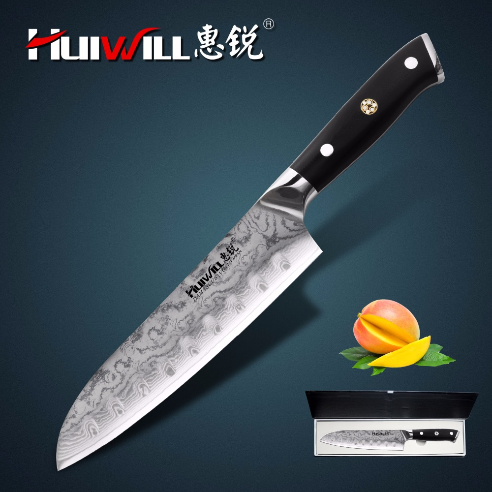 New 180mm Blade length damascus Japanese VG10 kitchen santoku knife Chef knife utility knife with forged
