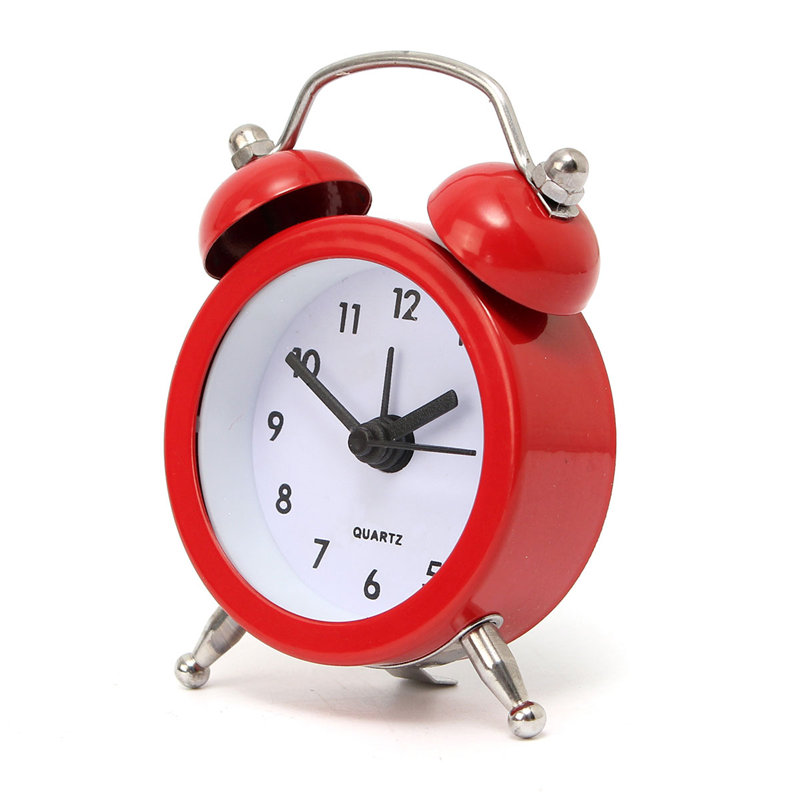 Charminer Home Decor Metal Double Twin Bell Silent No ticking Metal Desk Table Alarm Clock 6 Colors 50x45x115mm High Quality