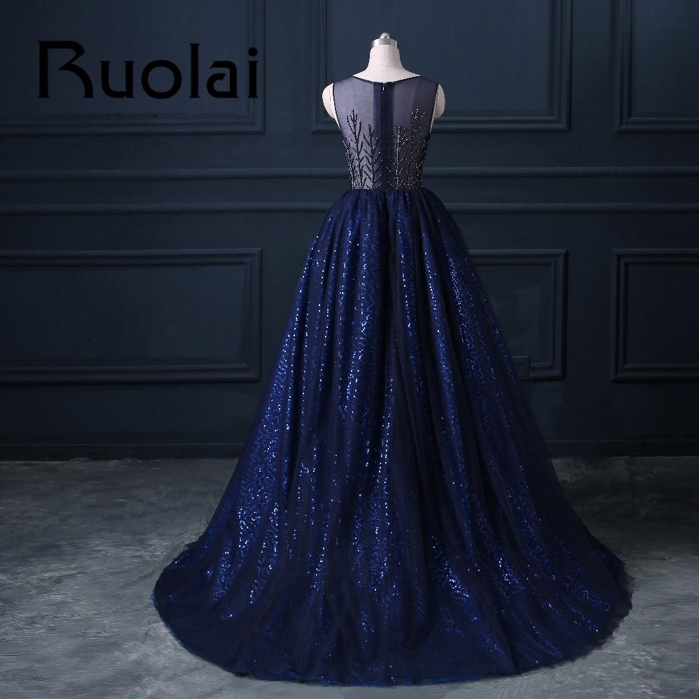 2017 Mewah Diraja Blue Berat Beaded Ball Gaun Petang Sifon Sequined - Gaun acara khas - Foto 4