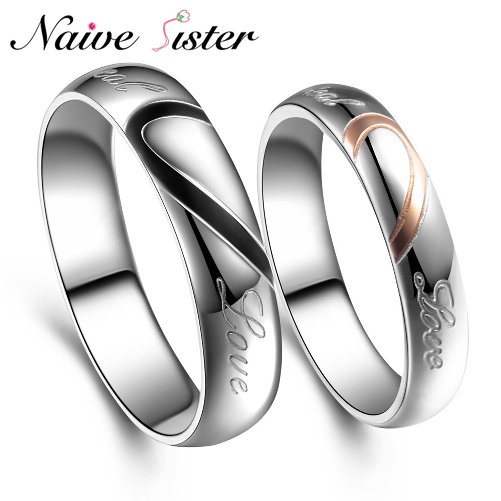 """Romantic Bands: Romantic Couple Rings """" Real Love"""" Valentines Day Gift"""