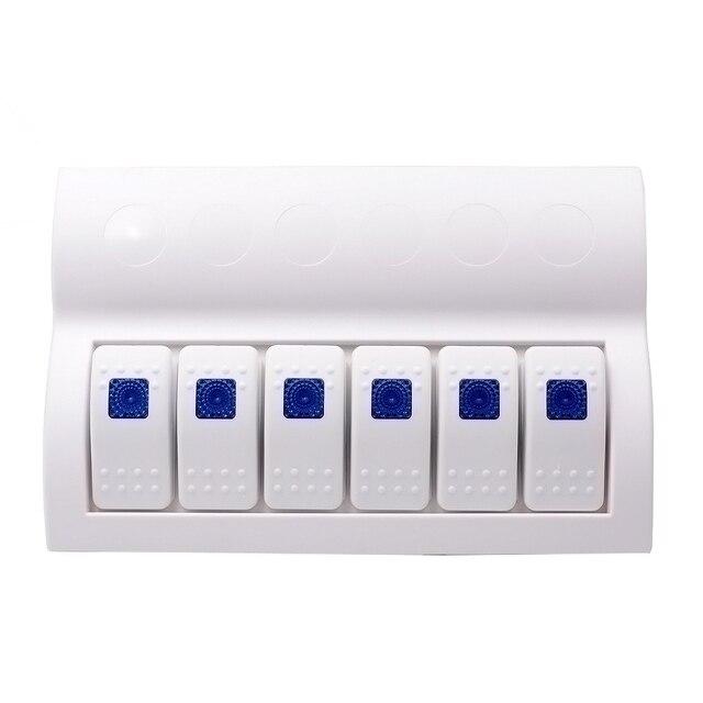 Blue Led 6 Gang Splashproof Waterproof Rocker Switch Panel White with LED Indicators for Boat Marine Bridge Control
