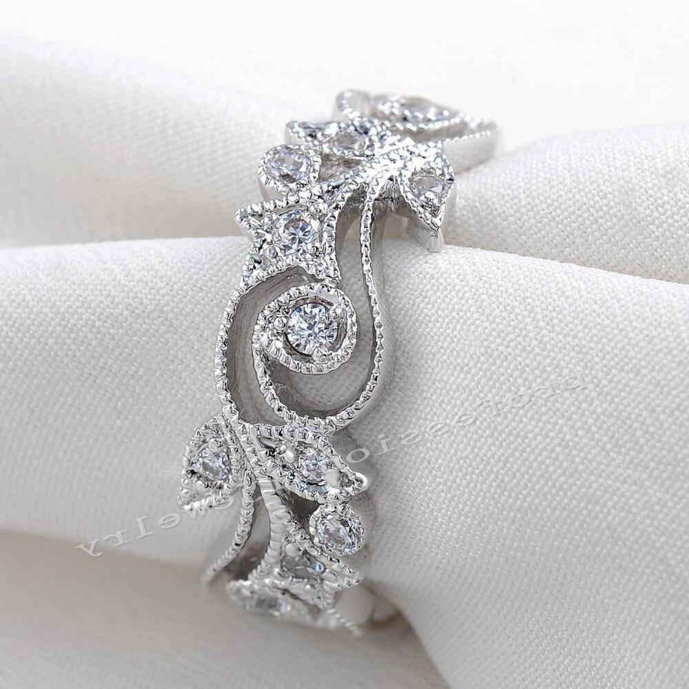 Choucong Wieck Antique bijoux fleur design 925 en argent Sterling simulé pierres de mariage bagues de fiançailles pour l'amour taille 5-11