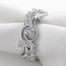 Choucong Wieck antyczna biżuteria kwiat Desgin 925 srebro sztuczne kamienie obrączki ślubne dla miłości rozmiar 5-11 tanie tanio Pierścionki Moda 5 5mm Geometryczne Zespoły weselne Kobiety Romantyczny Prong ustawianie Cyrkonia Zaręczyny Wszystko kompatybilny