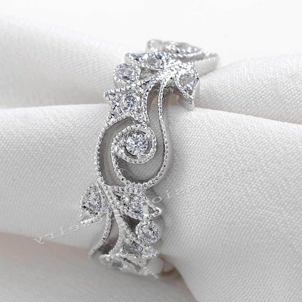 choucong Wieck Antique jewelry  Flower Desgin 925 Sterling Silver Simulated stones Wedding Engagement Rings For Love Size 5-11