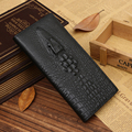 Luxury Brand 100% Genuine Cowhide Leather Crocodile Patter Men Long Wallet Card Coin Purse Vintage Designer Male Carteira Wallet