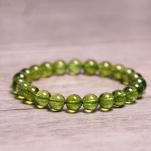 Natural Stones Green Peridot Bracelet Olivine Crystal Quartz Round Bead Men
