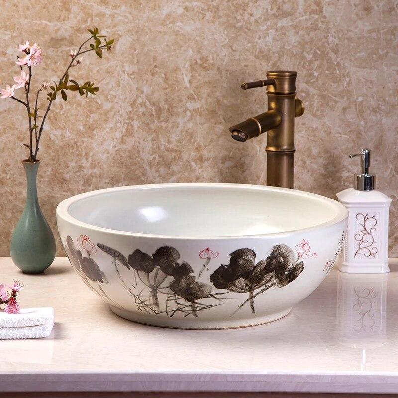 jingdezhen ceramic sink wash basin ceramic counter top wash basin bathroom sinks small laundry sink countertop washbasin