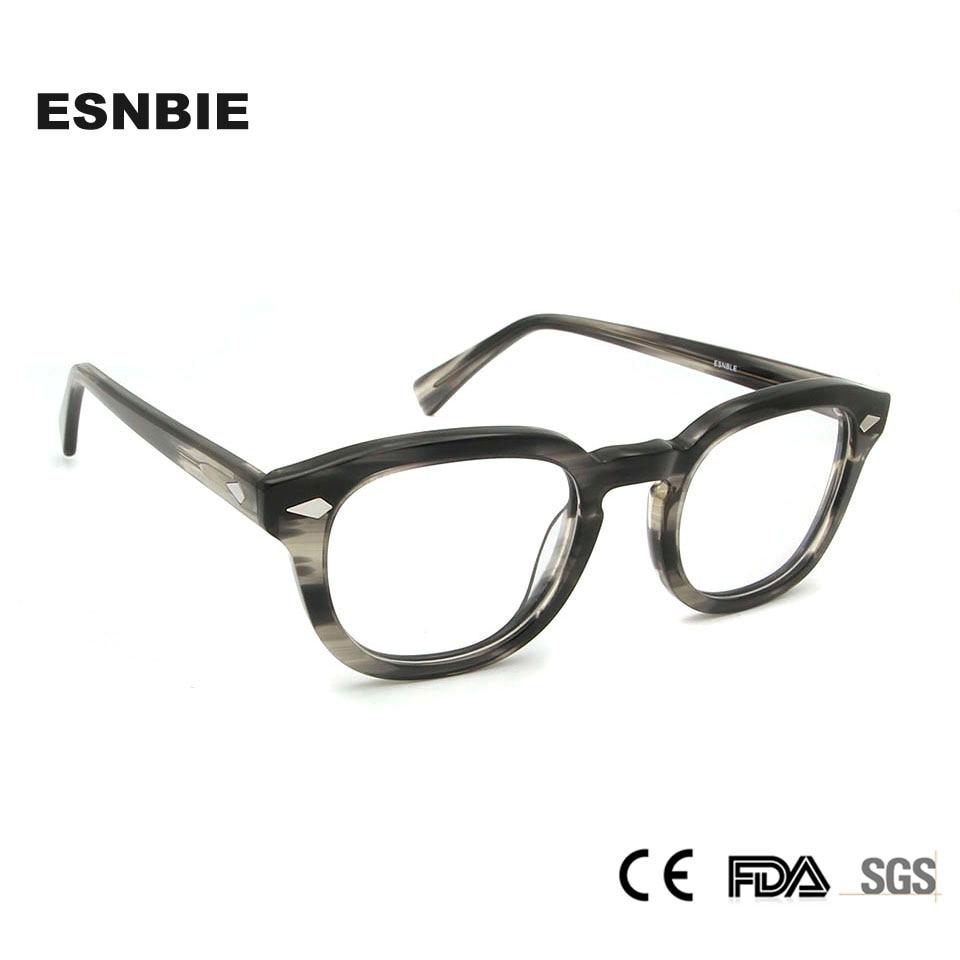 Herren-brillen Begeistert Esnbie Acetat Depp Gläser Rahmen Männer Retro Runde Brille Für Frauen Auge Gläser Männer Oculos De Grau Brillen Zubehör Sparen Sie 50-70% Brillenrahmen
