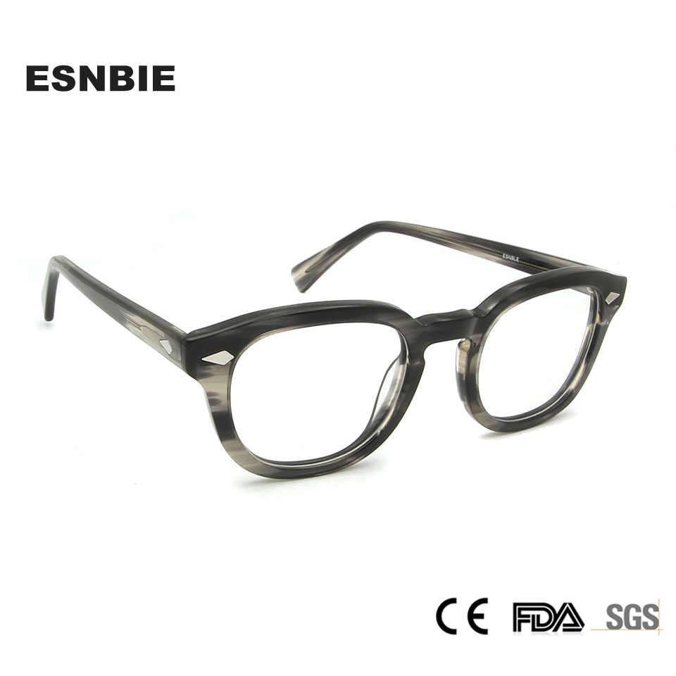 ESNBIE Acetate Depp Glasses Frame Men Retro Round Spectacles For Women Eye Glasses Men Oculos De Grau Eyewear Accessories