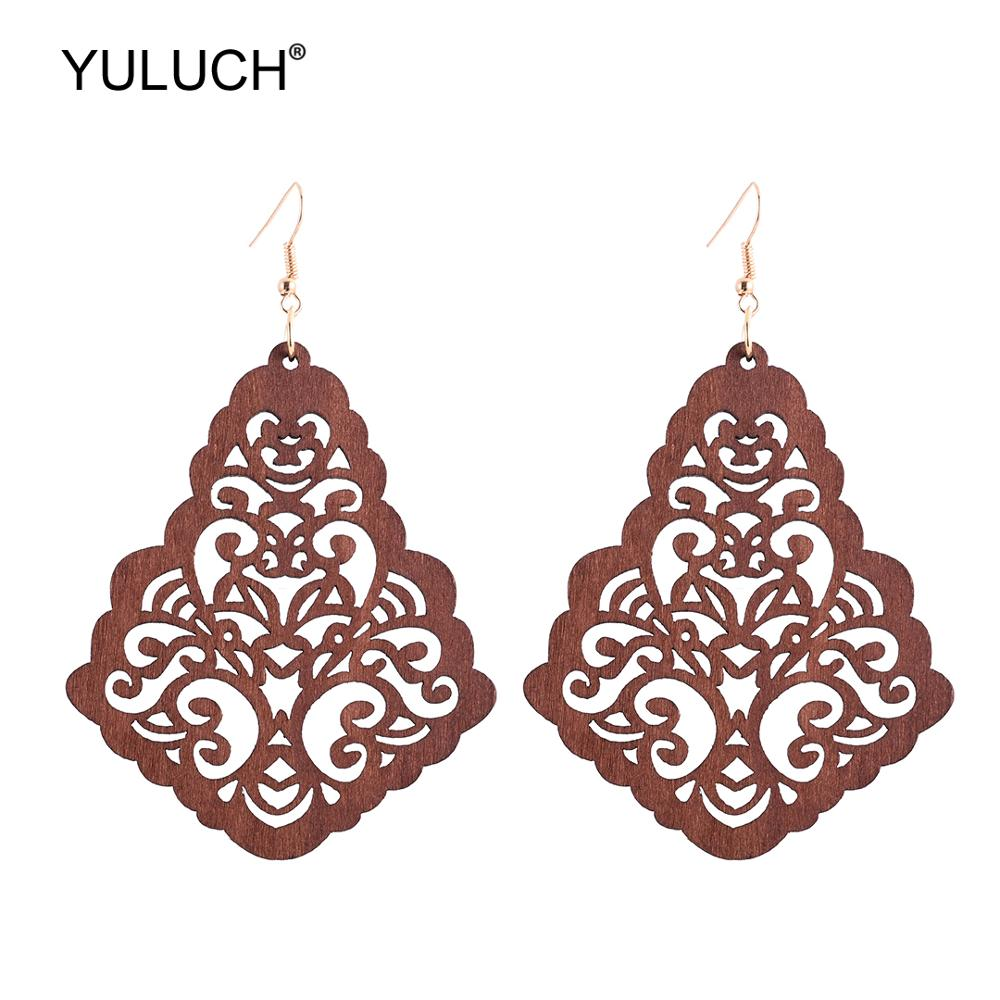 YULUCH African Black Brown Hollow <font><b>Flower</b></font> Pendant <font><b>Earrings</b></font> <font><b>For</b></font> <font><b>Women</b></font> <font><b>2019</b></font> Red Ethnic Big Long Statement <font><b>Earrings</b></font> Jewelry Wedding image