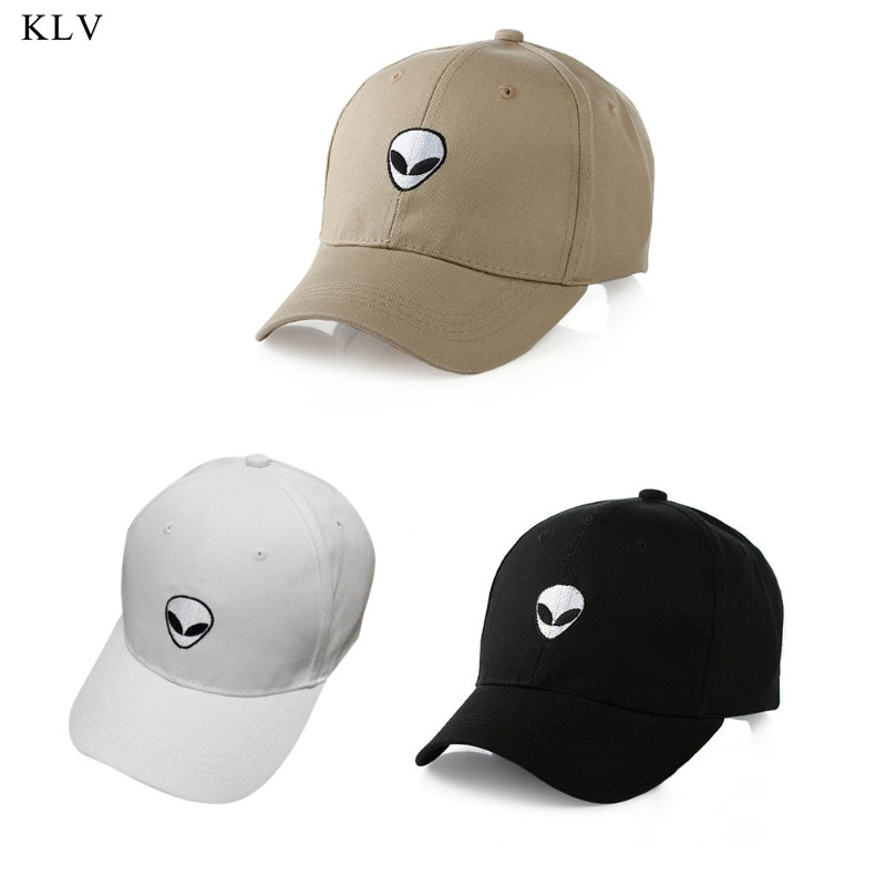 KLV New Damn Alien Embroidery   Baseball     Cap   Cotton Adjustable Outdoor Hat Lovers Hat Korean Style Harajuku Hat