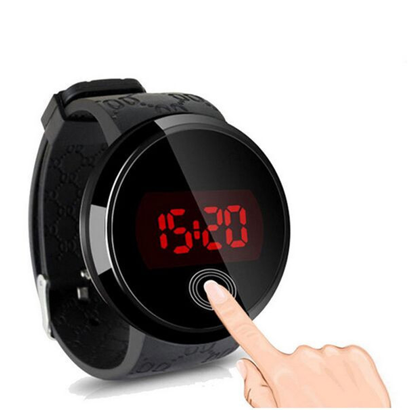 Waterproof Men LED Touch Screen Day Date Silicone Digital Watch For Special Gift
