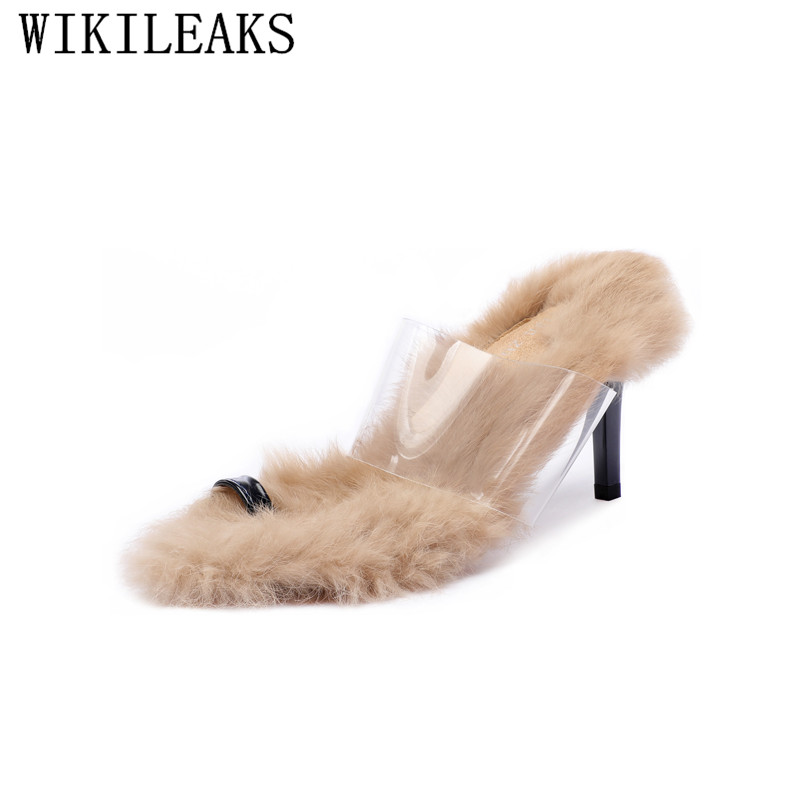 designer shoes women luxury 2018 fur slippers women high heels shoes transparent slides flip flops brand shoes for women pantufa цена 2017