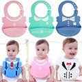 New Baby Boy Girl Bibs Cartoon Bow Tie Print Silicone Feeding Wear Waterproof Intantil Babero Apron Baby Bibs Burp Cloths