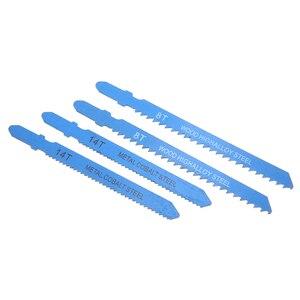 Image 5 - O t punho curvado de 14 pces viu as lâminas sortidas de aço do metal t shank jigsaw blade ajustou o encaixe para o dente reforçado de madeira plástica