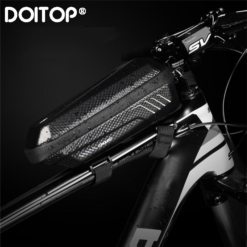 DOITOP Phone Holder Universal Bike Motorcycle Mobile Support Stand Bag For Iphone X 8 S8 S9 GPS Bicycle Top Tube Front Beam Bag