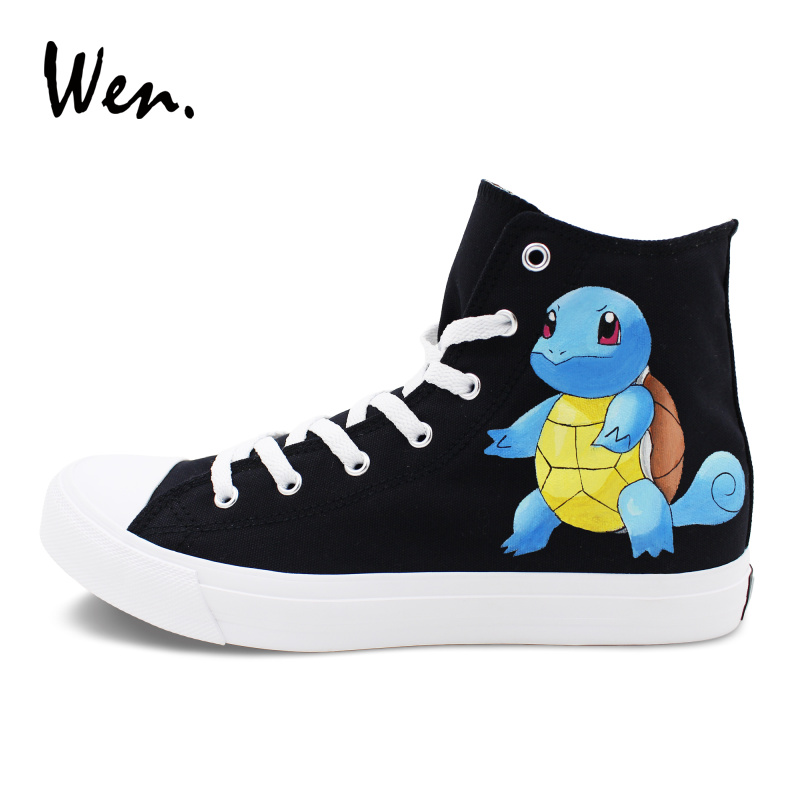 Wen Hand Painted Pokemon Shoes Men Women Sneakers Canvas Flat Design Squirtle Turtle Pocket Monster Graffiti Shoes trendy flat collar sleeveless pocket design buttoned dress for women