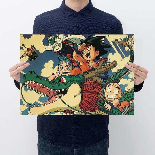 Dragon ball z goku Action Figure Anime Cartaz Retro Vintage Kraft Adesivo De Impressão Bar Cartazes Decoração Brinquedo Bola Dragão Para crianças Meninos