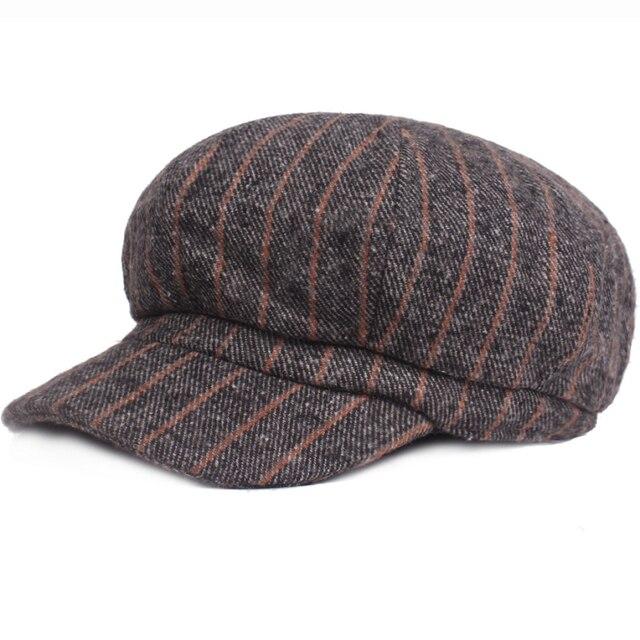 ab87244dd01 HT1818 Octagonal Cap Striped Newsboy Caps for Women Men Artist Painter  Beret Hat Autumn Winter Wool Men Women Hats Unisex Berets