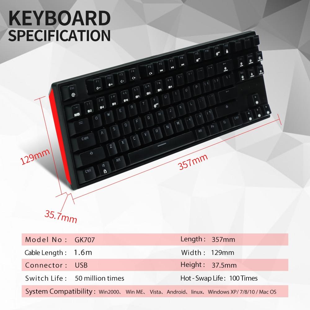HEXGEARS 87 clave intercambiables en caliente Teclado mecánico impermeable Kailh caja de interruptor de Teclado Gamer teclado con iluminación de fondo - 3