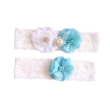 1 pair wedding garter set bride blue bridal lace Chiffon flower toss garter inspired garter with pearl rhinestone