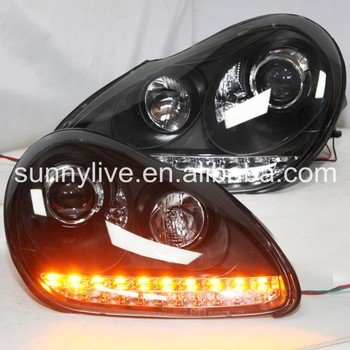 For Porsche 957  2004-2006 LED Head Lamp Black Housing