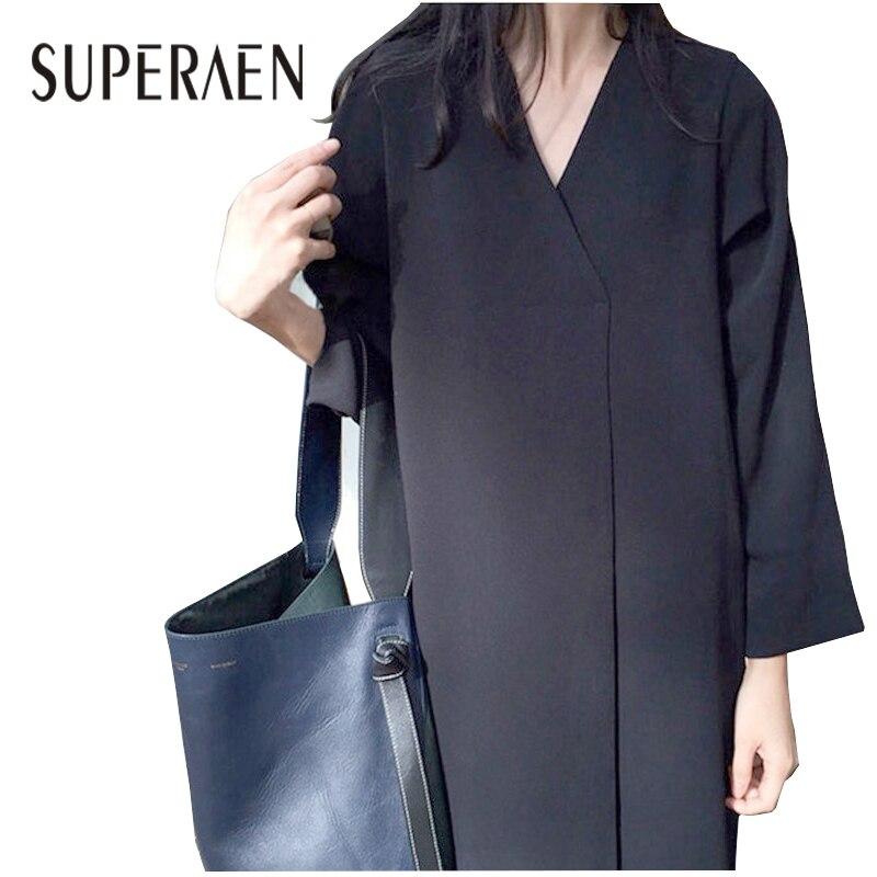 SuperAen Korean Style Women Long Dress 2018 Spring New Women Retro Dress Solid Color V-neck Loose Long-sleeve Dress Female