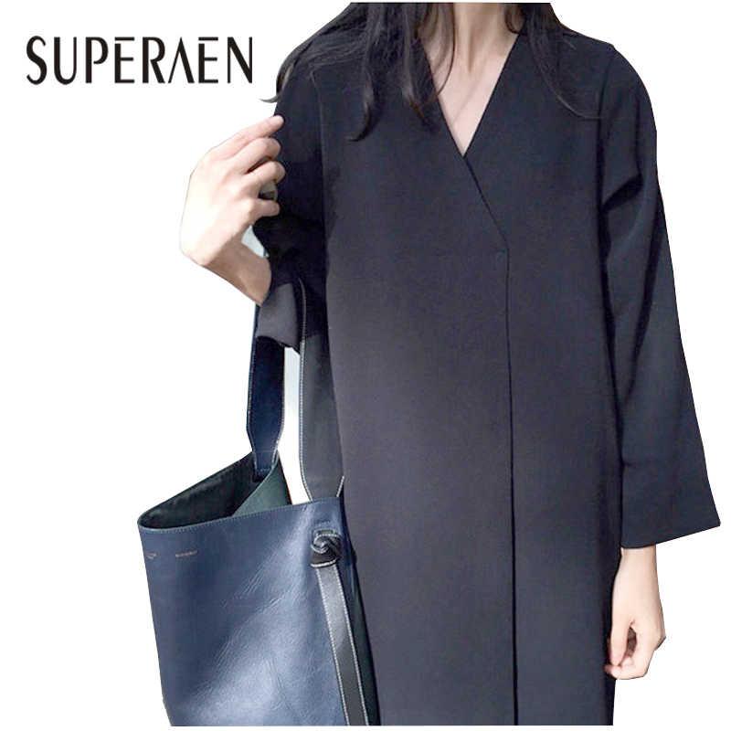 SuperAen koreański styl kobiety długa sukienka 2018 wiosna nowy kobiety sukienka retro Solid Color V-neck luźna sukienka z długim rękawem kobieta