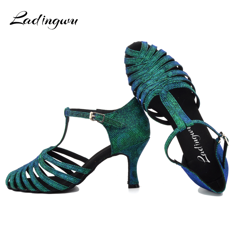 Ladingwu  Factory Outlet Discoloration Flash Cloth Ballroom Party Salsa Dance Shoes Green Blue Gray Latin Dance Shoes Woman