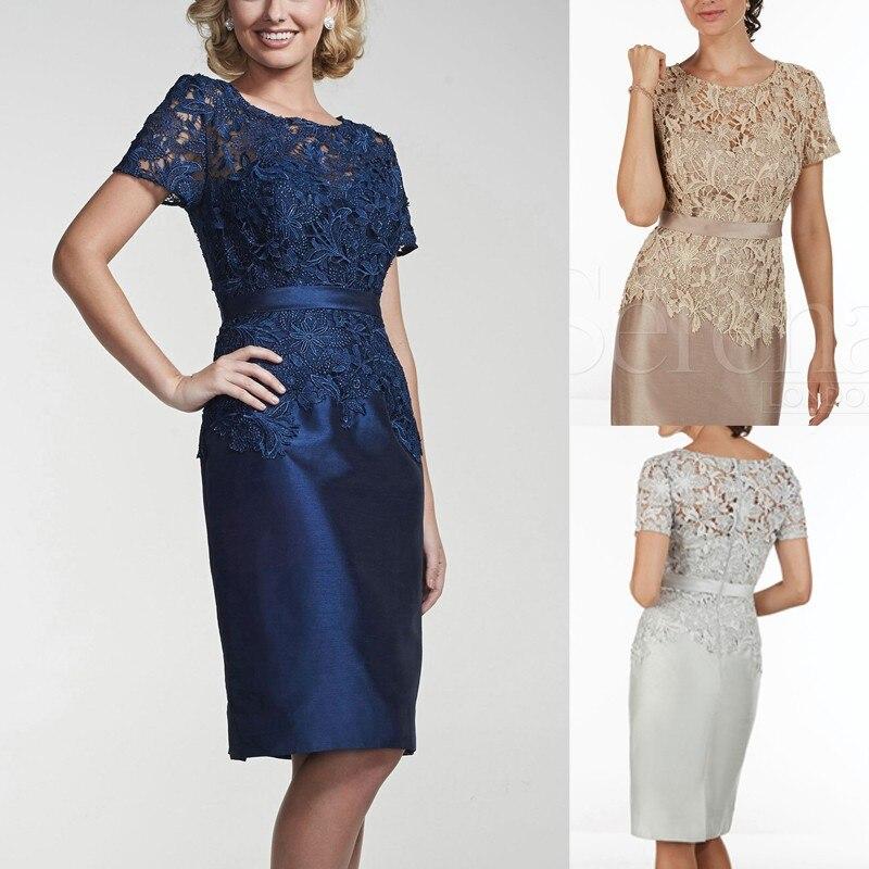 2015 Brides Mothers Dresses Wedding Short Sleeves line appliques knee length Mother Bride - Love yarn dress store