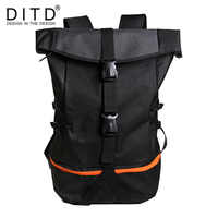 DITD Men's Backpack Nylon Black bag Large Capacity NEW Foldable Travel Multi-Function Hiking Mountaineering Student Bag