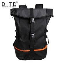 DITD Mens Backpack  Nylon Black bag Large Capacity NEW Foldable Travel Multi-Function Hiking Mountaineering Student Bag