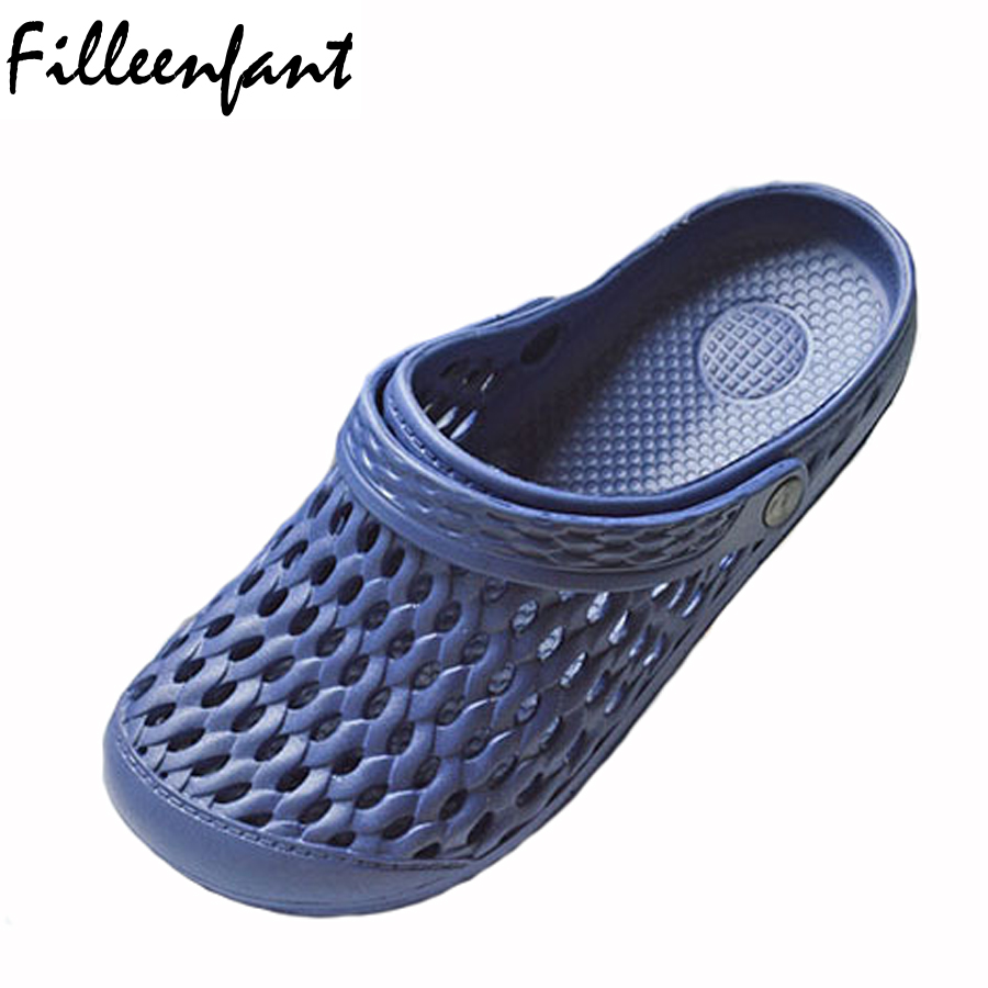 f6b44fc0c3b15c Mens Clogs Shoes Light Breathable Summer Mules Garden Slipper Cut Outs Hole  Casual Beach Sandals Solid
