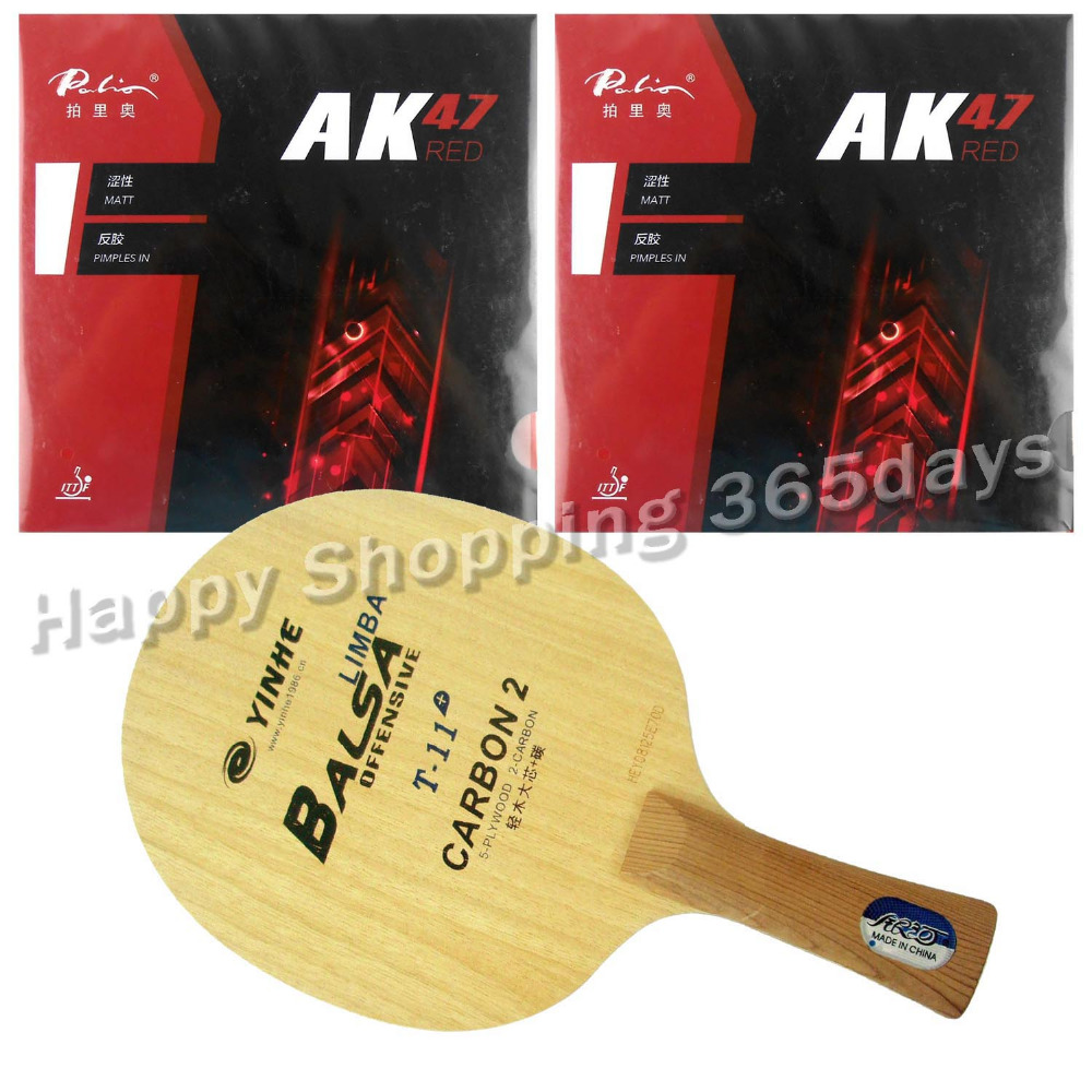 Pro Table Tennis PingPong Combo Racket Galaxy YINHE T-11+ Blade with 2x Palio AK47 RED H45-47 Rubbers Shakehand Long Handle FL pro table tennis pingpong combo racket dhs power g7 blade with 2x palio ak 47 red matt rubbers shakehand long handle fl