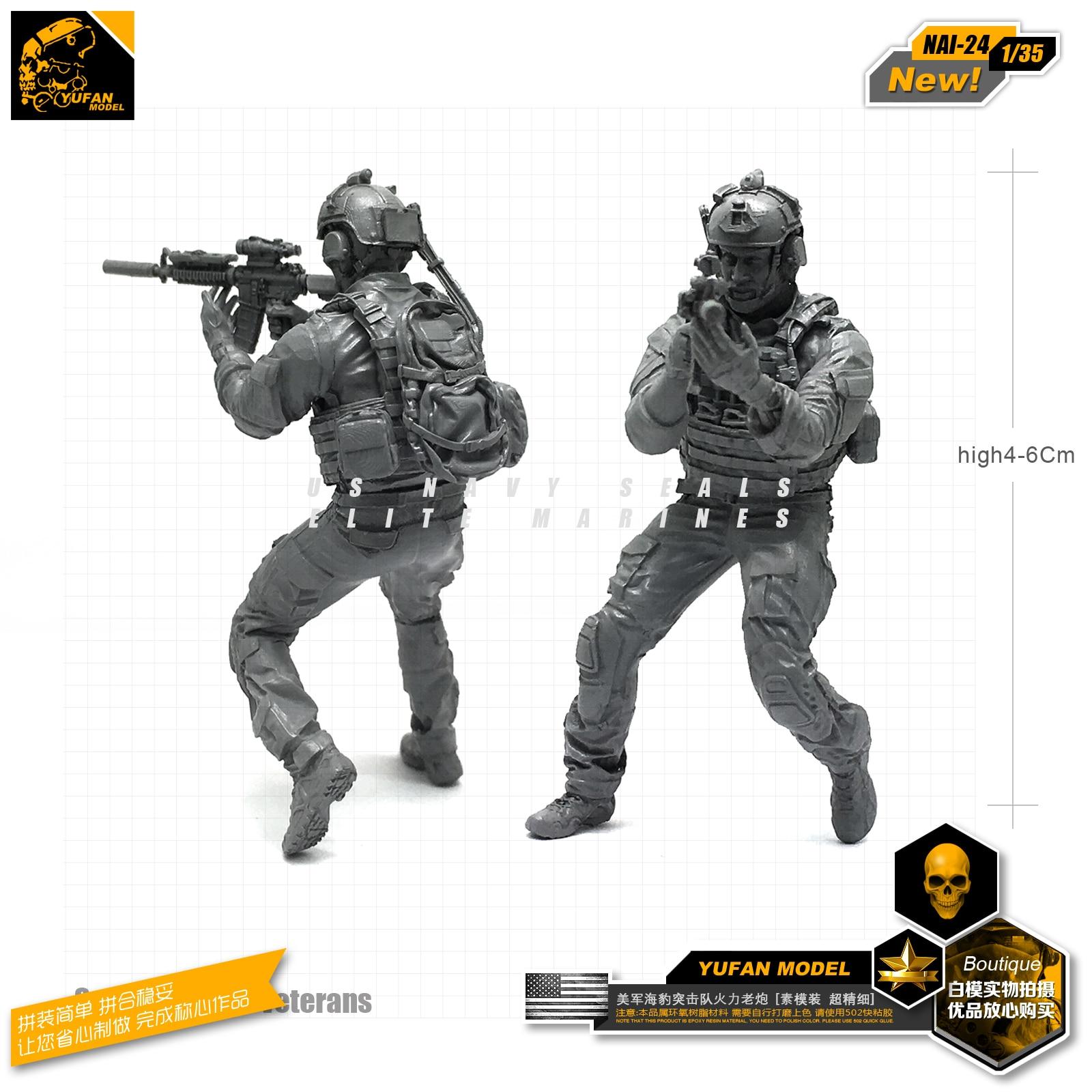 Yufan Model 1/35 Figure Model Kit Modern American Seal Veterans Resin Soldier Model Nai-24