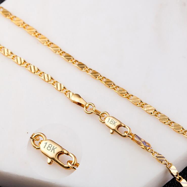 """2mm Women Girls 585 Jewelry Gold Color Flat Snake Style Necklace Chains 16"""" 18"""" 20"""" 22"""" 24"""" 26"""" 28"""" 30"""" Wholesale 18 K Stamp"""