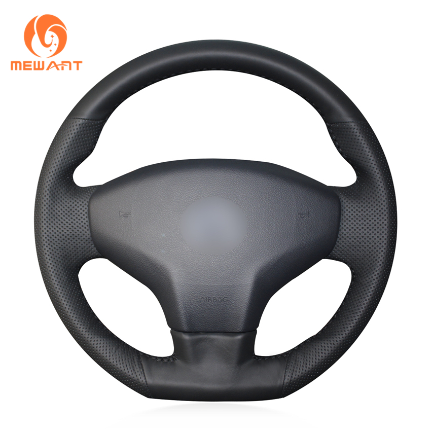 MEWANT Black Genuine Leather Car Steering Wheel Cover for Citroen Elysee C-Elysee 2014 New Elysee Peugeot 301 2013-2016 shining wheat hand stitched black leather steering wheel cover for citroen elysee c elysee citroen xsara picasso