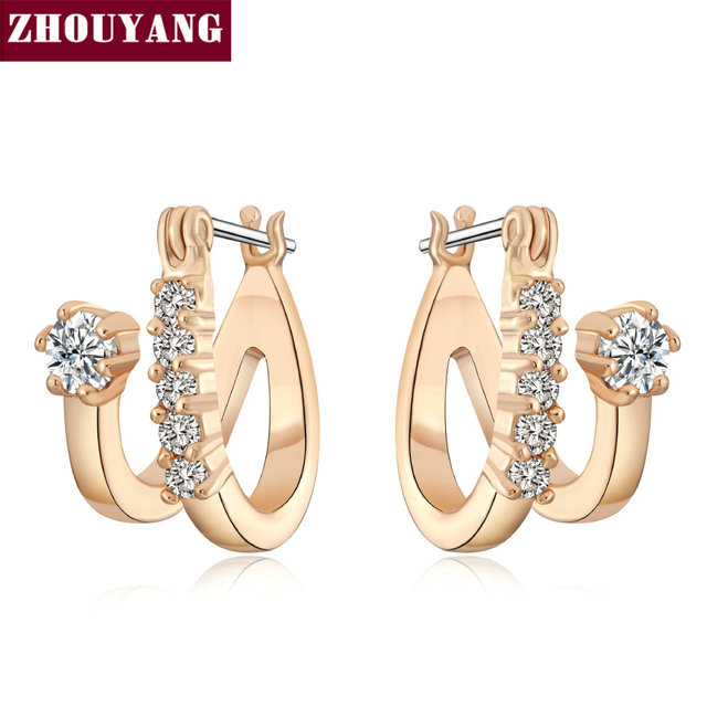 efd3723608d695 ZHOUYANG Top Quality Crystal Mosaic Stud Earring Rose Gold Color Jewelry  Austrian Crystal Wholesale ZYE655 ZYE147