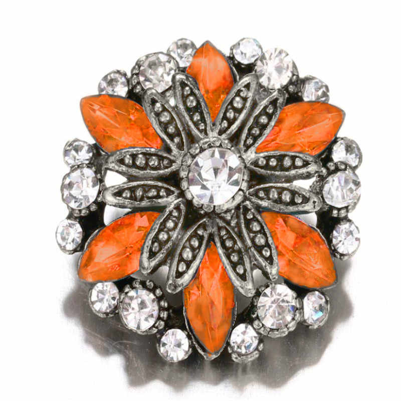 Orange With Crystal Flowers Snaps Jewelry 18mm Snap Buttons Fit Women Snap Bracelets Bangles Wedding Party Jewelry