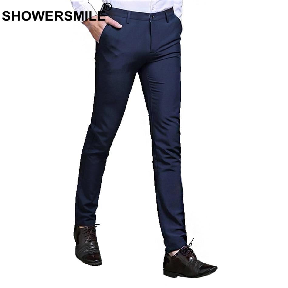 SHOWERSMILE Blue Suit Pants Mens Formal Trousers Office Plus Size Pencil Pants Summer Autumn Business Nylon Dress Pants Male