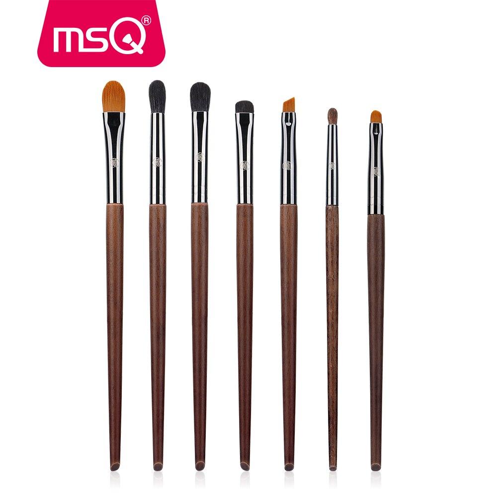 MSQ 7pcs Makeup Brushes Set High Quality Blending Eyeshadow Lip Make Up Brush Set With Case Copper Ferrule Natural Wood Handle msq makeup brushes set pro 7pcs high quality goat